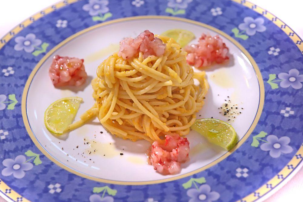 Spaghettoni Voiello alla carbonara di gamberi rossi e lime